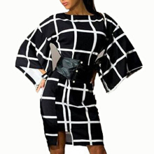 AD Women Dressing Slim Long Sleeve Checkered Printed Dress -