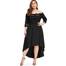 Kubon Plus Size Off Shoulder Dip Hem Lace Dress Black XL