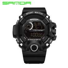 2018 SANDA Fashion Sports Digital Watch Men Diving Sport LED Waterproof Watches Student Watch