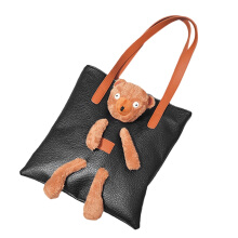 [LESHP]Stylish Autumn New Handbag Fashion Models Simple Bear Doll Large Capacity Bag Black