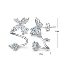 Jantens 3 Color New Fashion Silver Crystal Earring Butterfly Design Ear Clip For Women Silver Jewelry