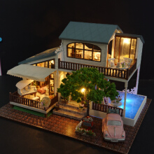 Jantens DIY Model Doll House Casa Miniature Dollhouse with Furnitures LED 3D Wooden House Toys For Childr Photo Color