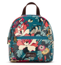 Sakroots Mini Crossbody Backpack Teal Flower Power