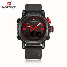 NAVIFORCE Trendy Design Luxury Men PU Leather Sport Watches Wrist Watch Red Black