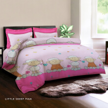 KING RABBIT Bedcover Single Motif Little Sheep -Pink/ 140 x 230cm Pink