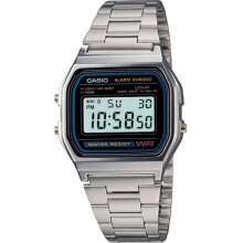 Casio Wanita A158WA-1DF D30H257SLLHT Digital Stainless Steel Silver