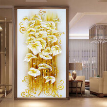 [kingstore]Beautiful Home Decoration 5D Lily Flower Pattern Painting Cross Stitch Kits Gold Gold lily flower