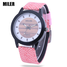 MILER 83126 Unisex Quartz Watch Luminous Pointer Leather Band Daily Water Resistance Wristwatch