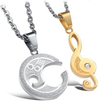 SESIBI Lovers Couples Music Breaks Moon Pendant Necklace Jewelry -