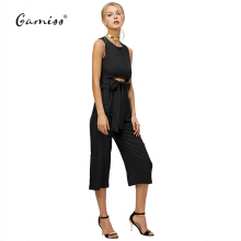 Fashionmall Spring summer  fashion sexy belt corset hollow out woman wide leg jumpsuit