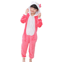 SESIBI Size 100~140 Kids Cartoon Clothes Parent-Child Homewear Siamese Pajamas Suit -Dot Cat -