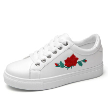 Flower Embroidered Trainers Lace Up Casual Flat Shoes White 39