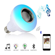Keymao E27 Wireless Bluetooth Speaker+12W RGB Bulb LED Lamp 110V 220V Smart Led Light Music Player Audio with Remote Control White