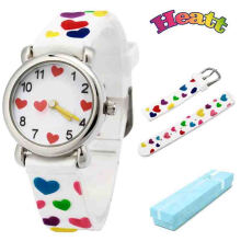 Keymao Loves Waterproof 3D Cute Cartoon Silicone Wristwatches Gift for Little Girls Boy Kids Children White