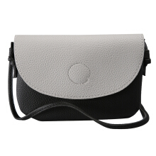 [LESHP]Elegant Wome Embossed Semicircle Cover PU Leather Single Shoulder Message Bag Black