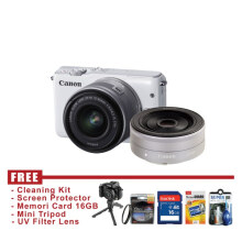 Canon EOS M10 Kit 15-45mm + EF-M 22mm IS STM Putih - FREE Accessories