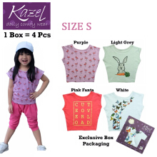 Kazel Tshirt Girl Butterfly Edition isi 4 Pcs