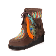 Zanzea 0051US Size 5-12 Women Fur Lining Embroidered Feather Tassels Wedge Ankle Boots Brown