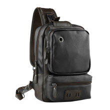 COZIME Men Outdoor PU Leather Satchel Bag Chest Crossbody Single Shoulder Black
