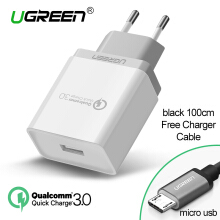 UGREEN QC3.0 Charger Quick Charge 3.0 Handphone 18W Fast Charging Charger + Free 1 Meter Micro USB Fast Charging Cable