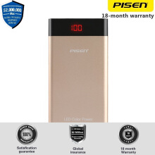 PISEN LED Color Power Gold Powerbank 10000mAh 2A Smart Charging  untuk Android Samsung Xiaomi HTC iOS Apple Ultra Slim Garansi 18 bulan Asuransi Global