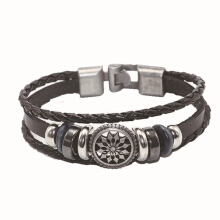 SESIBI Punk Multi Layers Leather Braided Bracelet Unisex Jewelry Accessories - Brown