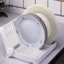 Jantens Kitchen Foldable Dish Rack Stand Holder Bowl Plate Tray Tableware Drip Shelf Tools White