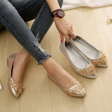 Plus Size Bright Surface Comfortable Rhinestone Flat Loafers For Women Silver 42