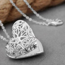 Farfi Women's Stylish Silver Plated Hollow Out Heart Photo Locket Charm Necklace Gift as the pictures