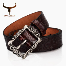 COWATHER cow genuine leather belts high quality pin buckle 3.2cm XF022