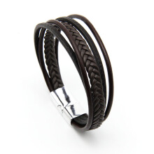 Jantens Punk Braid Leather Bracelet Clasp Wristband Male Jewelry Vintage Fashion Best Gifts black brown color