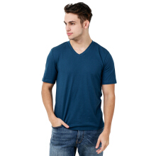 FACTORY OUTLET UG1802-0011 Mens T-Shirt V Neck Short Sleeve - Turquise Blue