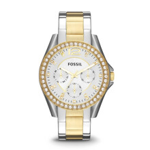 Fossil Riley - Silver Round Dial 38mm - Stainless Steel - Silver & Gold - Jam Tangan Wanita - ES3204
