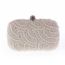 [LESHP]Delicate Women Evening Bag Elegant Pearl Handbag Lady Shoulder Luxury Black