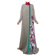 COZIME Loose Style Floral Printed Long Sleeve Women Islamic Long Dress Muslim Robe Grey Size L Grey L