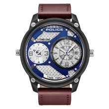Police Sport Multi-function PL.15268JSB/03 Chronograph Men Blue Dial Brown Leather Watch [PL.15268JSB/03]
