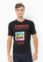 Johnwin - Slim Fit - Kaos Casual Active - Polaroid - Hitam