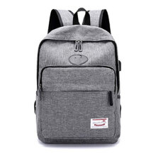 [COZIME] Fashion Travel Backpack With USB Port Large Capacity Students Schoolbag Gray