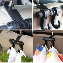 Farfi Car Back Seat Head Rest Double Hooks Shopping Bag Organizer Holder Hanger as the pictures
