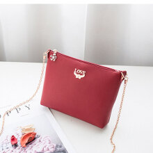 Chain leather handbags ladies party purse crossbody shoulder messenger bags red
