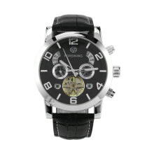 Forsining Multifunctional Men Watch Automatic Stainless Steel Case Clock Black