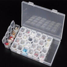 Farfi 28Slots Embroidery Diamond Painting Accessories Storage Box Case Nail Art Holder