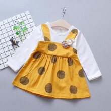 Spring Autumn Baby Girls Round Collar Long Sleeve Princess Dress Clothes L