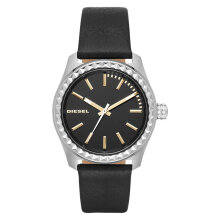 Diesel DZ5530 Kray Kray Ladies Black Dial Black Leather Strap [DZ5530]