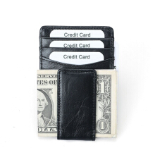 Zanzea 0051RFID Antimagnetic Genuine Leather Business Card Holder Wallet Black