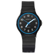 Farfi Men Round Dial Silicone Band Quartz Analog Arabic Numbers Sports Wrist Watch