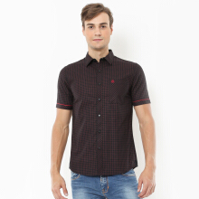 Johnwin - Slim Fit - Kemeja Casual Active - Gingham - Hitam