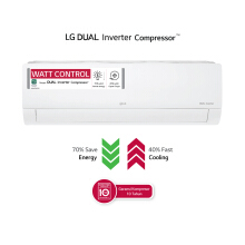 LG AC Dual Cool Eco Inverter [1.5PK] - T13EV4 [Indoor + Outdoor Unit Only]