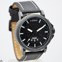 Naviforce Jam Tangan Pria -D45H151NF9125MBHTMPTH-Analog -Leather Srap-Hitam Putih Black