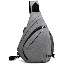 HUWAIJIANFENG Waterproof Men Canvas Chest Bag with USB Charging Port Dark Gray